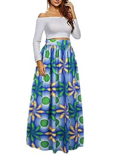 Uideazone Women African Floral Maxi Skirts High Waist A Line Long Skirts With Pockets
