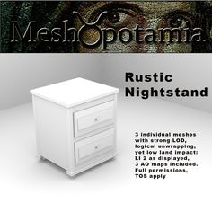 This kit consists of 3 individual meshes with strong LOD and logical unwrapping. 3 AO maps are included Meshopotamia's meshes are carefully . Rustic Nightstand, How To Apply, Bedroom, Bedrooms, Dorm Room, Dorm