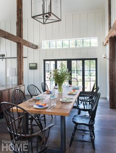The dining area features a dining table from Restoration Hardware and Windsor chairs from D. Farmhouse Dining Chairs, Dining Room Chairs, Dining Area, Dining Rooms, Office Chairs, Club Chairs, Design Furniture, Rustic Furniture, Cape Cod