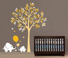 Herbst Baum Wand Aufkleber mit Blättern, Mauer-Elefant, Abziehbilder, Tier Wandaufkleber, Kinderzimmer Babys Zimmer Wand Aufkleber-JM7210AB-3238