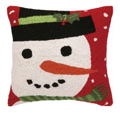 "Snowman on a Red Snowy Night Hook Throw Pillow 18"" x 18"" – Brookshire Boutique #christmas #pillow"