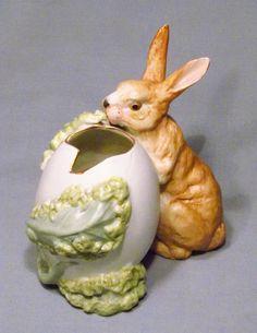 Vintage Heubach Germany Bisque Bunny Rabbit Eating Lettuce Gilded Egg Figurine #GebruderHeubach