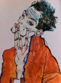 EGON Schiele / SELF portrait (I really love his hand and eyes) Gustav Klimt, Art And Illustration, Egon Schiele Zeichnungen, Figure Drawing, Painting & Drawing, Egon Schiele Drawings, Figurative Kunst, Art Moderne, Art Sketchbook