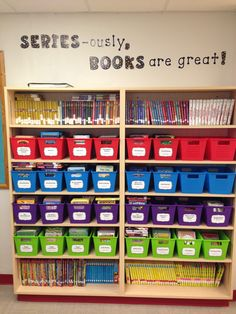 Series books are shelved in their own section.  Labels for series are on the baskets.