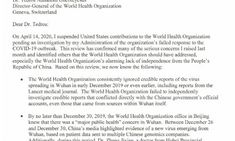 The White House Suspends Its Contributions to WHO and Wrote a Letter to Them on COVID-19