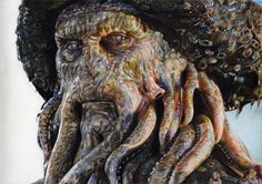 Davy JONES by ~Sadness40 on deviantART ~ artist Corinne Vuillemin ~ POTC ~ traditional art done with colored pencils & 41 hours ~ an arduous labor! AMAZING! When you click through to the source site, no image appears; but click it again & a huge one will appear!
