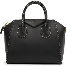 Givenchy Small Antigona Leather & Snake Chain Satchel ($2,750) ❤ liked on Polyvore featuring bags, handbags, apparel & accessories, black, genuine leather satchel handbags, leather handbags, leather bags, leather satchel handbags and leather satchel purse