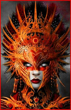 Red tribal mask~ art of fantasy~#art#fantasy