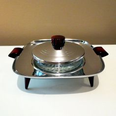 GloHill Gourmates Chrome and Red Bakelite Tray and by KitschKnack, $25.00