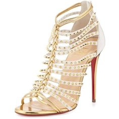 Christian Louboutin Millaclou Studded-Cage Red Sole Sandal ($1,570) ❤ liked on Polyvore featuring shoes, sandals, heels, metallic sandals, high heel sandals, t strap high heel sandals, leather sandals and red sole shoes