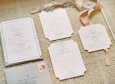Notched edge wedding invitations | On SMP: http://www.StyleMePretty.com/2013/12/02/st-louis-garden-wedding-from-clary-photo/ Clary Photo