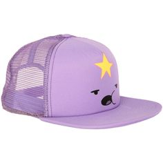 Adventure Time Lumpy Space Princess Trucker Hat | Hot Topic ($15) ❤ liked on Polyvore featuring accessories, hats, adventure time, cap, purple, trucker hat, purple hat, truck caps and caps hats