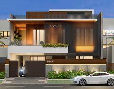 Corner House at Shastri Nagar - Jodhpur on Behance Modern Bungalow Exterior, Modern Exterior House Designs, Modern House Facades, Modern Architecture House, Modern House Plans, Modern House Design, Modern Contemporary House, Indian House Exterior Design, Home Modern
