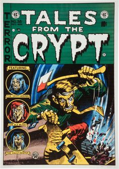 Tales From The Crypt #38-due to complaints about horror comics this issue's cover was toned down (censored). This is the original cover (note the pieces of derbis from the victim flying in the air and victim's arm and hand). In the published version of the cover the derbis and the victim's arm and hand were removed.