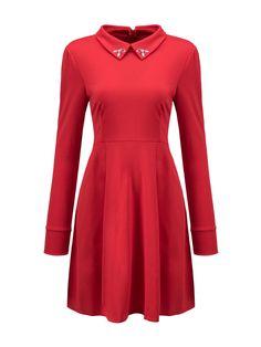 Doll Collar Beading Plain Skater Dress Only $18.36 USD More info...
