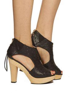 VEGAN & SEXY #CRIDECOEUR Finn Open-toe Platform Sandal - Black - was $175