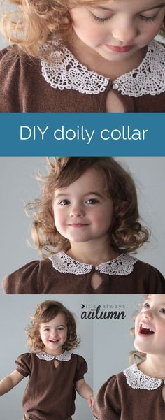 this is so adorable! add a cute peter pan #collar made from a #doily to a girls sweater or shirt with this easy DIY #sewing tutorial