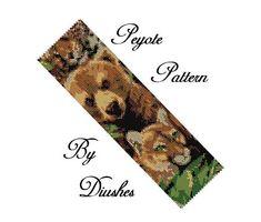 Bear & Lioness peyote pattern bracelet, Beading pattern, Seed bead pattern, Flat Peyote Bracelet Wide Cuff Bead Graph Even Count Peyote