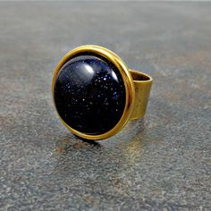 Statement Ring, Blue, Goldstone Ring, Gold Ring, Gemstone, Round, Rings for Women, Adjustable, Cocktail Ring, Big Ring, Navy Blue by Pilboxx on Etsy