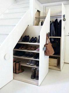 Genius Under Stairs Storage Ideas For Minimalist Home 03 Garage Shoe Storage, Coat And Shoe Storage, Entryway Shoe Storage, Staircase Storage, Stair Storage, Understairs Shoe Storage, Closet Storage, Shoe Storage Under Stairs, Closet Shelving
