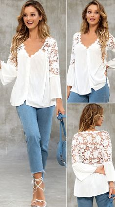 40 Year Old Womens Fashion, Embroidered Blouse, Lace Tops, Fashion Wear, Button Up, Bell Sleeve Top, Long Sleeve, How To Wear, Clothes