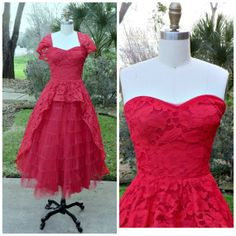 Vintage 1950s Dress  Red Lace Strapless by vintageandmore on Etsy, $125.00