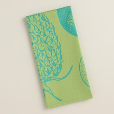 Add a tropical twist to your kitchen decor with our soft jacquard towel, patterned with oversized pineapples in cool shades of blue and green. Kitchen Towels, Kitchen Decor, Kitchen Ideas, World Market, Shades Of Blue, Pineapple, Aqua, Tropical, My Favorite Things