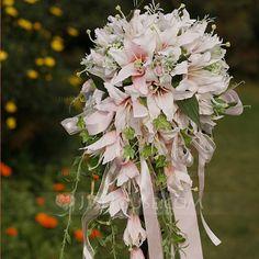 Eye-catching Cascade Satin Wedding Bouquet (124032154) - JJsHouse