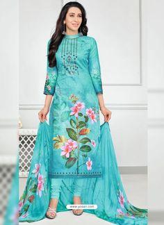 Karisma Kapoor Aqua Blue Cotton Suit with Digital Floral Print Stylish Dresses, Simple Dresses, Fashion Dresses, Indian Dresses, Indian Outfits, Trajes Pakistani, Fancy Suit, Churidar Designs, Indian Ethnic Wear