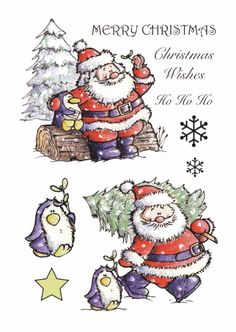 Santa and penguin Christmas Decoupage, 3d Christmas, Christmas Drawing, Christmas Cards To Make, All Things Christmas, Xmas, 3d Sheets, Christmas Printables, Cardmaking