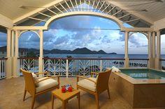 Ocean view balcony at The Landings, St Lucia / Caribbean luxury resort