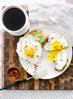 avo toast + fried egg
