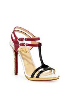 CHRISTIAN LOUBOUTIN Double Tutti T-Strap Red Sole Sandal