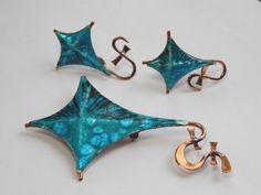 Vintage Signed Renoir Matisse Blue Enamel Copper Kite Brooch Clip Earring Set   eBay