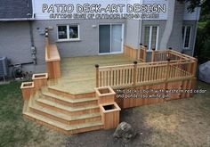Spaces Decks Design, Pictures, Remodel, Decor and Ideas - page 49 - love the built in planters. I'd still want a lower level for the deck opening to a stone patio Outside Living, Outdoor Living, Indoor Outdoor, Deck Stairs, Deck Plans, Deck Design Plans, Diy Deck, Decks And Porches, Building A Deck