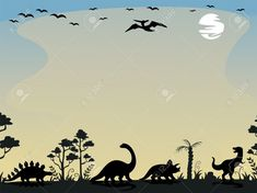 Background Illustration Featuring the Silhouettes of Dinosaurs , Silhouette S, Dinosaurs, Illustration, Movie Posters, Design, Film Poster, Illustrations, Billboard