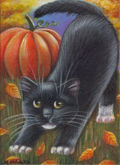 Black & White Kitten Halloween Fall Painting in Acrylics