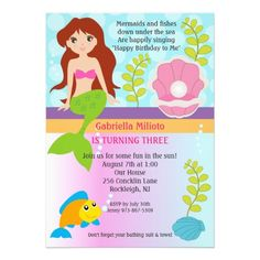 Under The Sea Mermaid Birthday Invite
