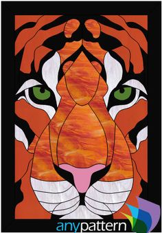 Tiger Face - 9 x 13- anypattern.com stained glass pattern