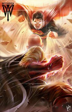 10 ilustrações de animes por WIZYAKUZA - Saitama vs Superman