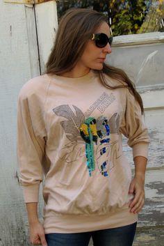 VINTAGE 80s Decorated SWEATSHIRT Dolmen Sleeves by menseridge, $20.00