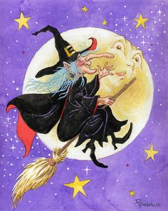 Mad Millie by Richard De Wolfe ~ flying witch ~ Halloween Halloween Artwork, Halloween Painting, Halloween Clipart, Halloween Pictures, Halloween Cards, Holidays Halloween, Vintage Halloween, Happy Halloween, Halloween Witches