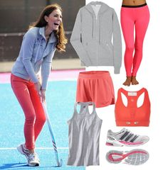 Kate Middleton Playing Hockey in Coral Pink Jeans Workout Attire, Workout Pants, Workout Gear, Workout Outfits, Gym Gear, Workout Style, Workout Clothing, Pink Workout, Exercise Clothes
