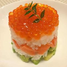 Sushi with avocado and red caviar.Japanese sushi with avocado and red caviar.Delicious appetizer.