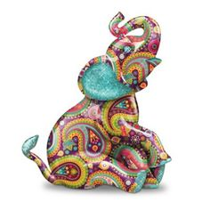 The Hamilton Collection Paisley Elephant Figurine with Glitter and Faux Gem Eyes Elephant Parade, Elephant Love, Elephant Art, Elephant Stuff, Colorful Elephant, Elephant Trunk, Elephant Tattoos, Elefante Hindu, Blue Morpho