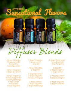 Sunsational Flavors Diffuser Blends Tangerine, Spearmint, Cumin, Dill Essential Oils #doterra