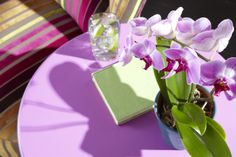 Add a burst of color to your home! This accent table is painted Radiant Orchid, Pantone's 2014 color of the year.
