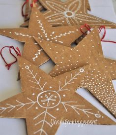 Make these adorable star ornaments - they remind me of Christmas cookies!