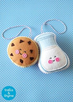 PDF Pattern - Cookie & Milk Felt Pattern, Kawaii Felt Ornament Pattern, Felt…