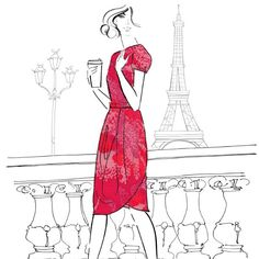 Coffee time..! You too? Yes, please!!!   Illustration by  Kerrie Hess   #coffee #style #Paris #red